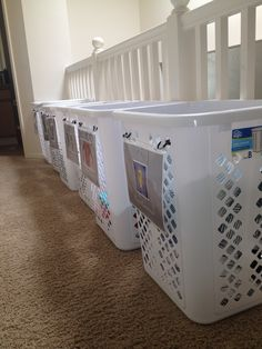 Labeled Laundry Baskets for Large Family