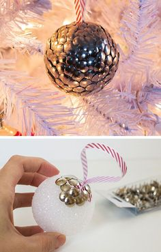 DIY Thumbtack Ornament | Click for 28 Easy DIY Christmas Decorations for Home | Easy DIY Christmas Ornaments Homemade