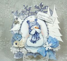 The sweetest little snowman by Mo Manning, perfectly coloured by Gretha Bakker. Love her card design too!