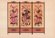 "Ukrainian Folk Art. M. Timchenko ""Paravent"" Postcard -- 1955"