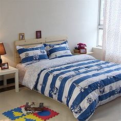 Auvoau Kids Bedding Set Nautical Theme Sailboat Anchor Light Tower White Blue Stripe Kids Boys Duvet Cover Sets 5pc with comforter -- Continue to the product at the image link.