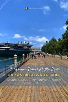 A California travel destination worth a stop on your itinerary, the San Diego Bay and Waterfront. Experience great dining, historical tours and of course stunning views. You can even cruise on the bay or hang out at the a park with splash fountains! #SanDiego #California