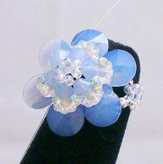 Swarovski Flower Ring Air Blue Opal by TurtleXIII on Etsy, $25.00