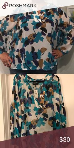 Breezy Lane Bryant top Sheer, flow-y work top. White with teal, black, navy and tan pattern. Lane Bryant Tops Blouses