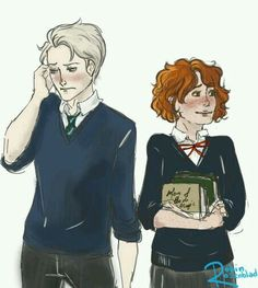 My mind is a blank. A very quick sketch of Rose and Scorpius, I was to lazy to draw hands properly, pls forgive me. Harry Potter Anime, Harry Potter Fan Art, Harry Potter World, Rose And Scorpius, Scorpius Malfoy, Anna And The French Kiss, Ron And Hermione, Trials Of Apollo, James Potter
