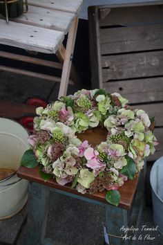 ' Art de la Fleur ' Floral , flowers , Angelique Temmink Waalboer , Autumn wreath , Fall Herfstkrans , Bloemschikken , Workshop.moss , Hortensia , Hydrangea,. www.artdelafleur7.nl