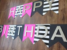 Kate Spade Inspired - HAPPY BIRTHDAY Banner Pink, Gold, black and white stripe decorations. A boutique and chic HAPPY BIRTHDAY banner is the perfect way to celebrate your glam girl! 2 sizes available: Large banner card size: 5 x 7 in Standard banner card size: 3X5 in HAPPY BIRTHDAY - Sparkling gold glitter letters! Banner card colors •Pink •Black •Black & white stripes Your banner is pre-strung. Leave a note during checkout if your order needs to be rushed. Matching Hair Tie favors…