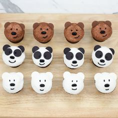 Homemade Honey flavored cupcakes decorated to look like Grizzly Bear, Panda Bear, and Ice Bear from We Bare Bears! Honey Cupcakes, Bear Cupcakes, Themed Cupcakes, Birthday Cupcakes, Cupcake Flavors, Cupcake Recipes, Dessert Recipes, Cupcake Tower Stand, Bear Birthday