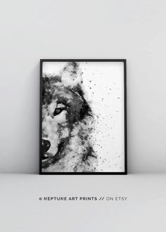 Wolf Watercolor Printable, Abstract Animal Print, Black and White Watercolour, Digital Download, Woodland Decor, Forest Animal Modern Poster Printable art is an easy and affordable way to personalize your home or office. You can print from home, your l