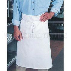 33 inch L x 28 inch W unisex one size Bar Apron. Mid-weight twill fabric in white. Chef Apron, Bar, Fabric, Fashion, Tejido, Moda, Tela, Fashion Styles, Cloths