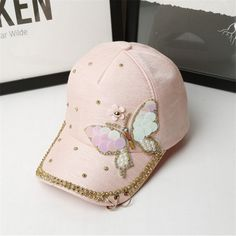 High Quality Butterfly Decoration Women Baseball Snapback Caps chapeau femme Iron Rings Hip Hop Hat Ladies Sun Hats Adjustable #Affiliate