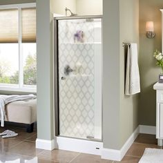 Delta Silverton 31 in. x 66 in. Semi-Frameless Pivot Shower Door in Bronze with Ojo Glass-170271 - The Home Depot