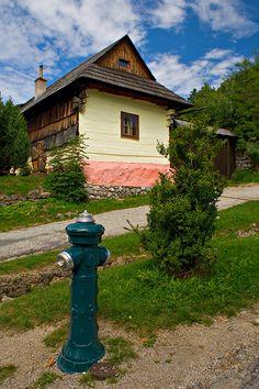 Interesting foundation on building in Vlkolinec. . .Buildings are similar to Polish in design. . .