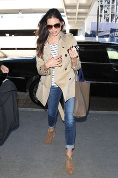 Trench + striped shirt + jeans + ankle boots