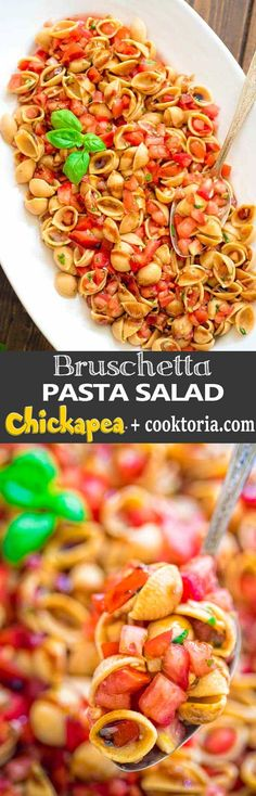 Loaded with fresh tomatoes, basil, and delicious Chickapea pasta, this Bruschetta Pasta Salad makes a refreshing side dish or a filling summer lunch. ❤ COOKTORIA.COM #ad #bruschetta #pastasalad #bruschettasalad #ChooseChickapea #ChooseChickapea
