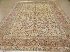 9 X 13 Antique Persian Isfahan Hand Knotted Wool Yellow Terracotta Oriental Rug In Antiques Rugs Carpets Extra Large 9x12 And Larger Ebay