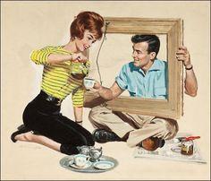 Bildergebnis für retro couple illustration