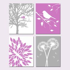 Dahlia Purple and Gray Nursery Art  Set of Four 8x10 by Tessyla, $65.00