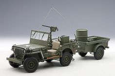 AUTOart 1:18 Jeep Willy's Army, green w/ trailer and accessories included #AUTOart