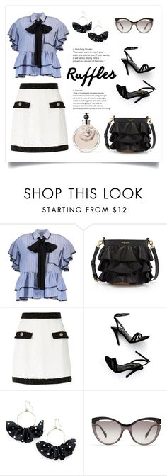 """""""Ruffles: Blue Mood"""" by style-sophist ❤ liked on Polyvore featuring MSGM, Henri Bendel, River Island, LULUS, Simons, Miu Miu, Valentino, classy, contestentry and springdresses"""