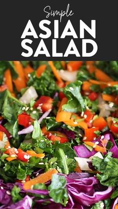 Asian Kale Salad Asian Kale Salad Looking to pair one of your favorite Asian dishes with a simple Asian salad? We've got you covered with this colorful Asian salad recipe dressed with a yummy Asian salad dressing. Best Salad Recipes, Kale Recipes, Chicken Salad Recipes, Healthy Dinner Recipes, Vegetarian Recipes, Simple Salad Recipes, Beetroot Recipes Salad, Asian Kale Salad Recipe, Veggie Asian Recipes