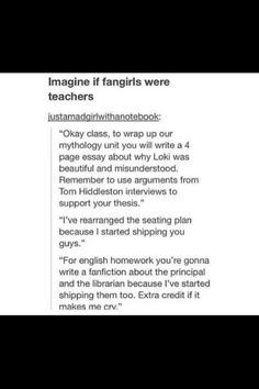 I am a teacher and a fan girl. If only I could get away with these things all the time!