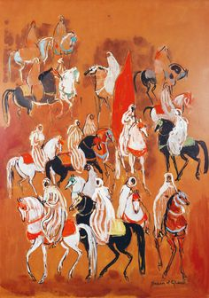"HASSAN EL GLAOUI (né en 1924) - Painter from Marrakech an emblematic figure of the Moroccan school of painting. Son of Pacha Thami el Glaoui, he was able to travel and study at the ""Ecole des Beaux-Arts"" of Paris. His works are very different of the Moroccan paintings, and, Glaoui was not tempted by abstraction. He painted still-lives, portraits, and horse scenes. Today, his paintings representing fantasias and large compositions with horses .sale Tableaux et Sculptures Orientalistes at…"