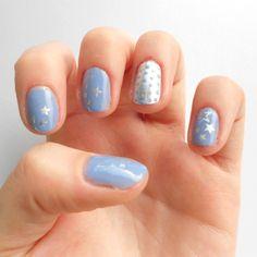 Nail Art - Lilas et étoiles argentées