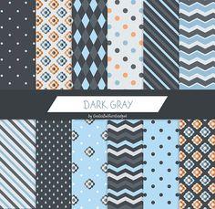 Dark gray digital paper, gray digital paper, rain paper, autumn paper, polkadots paper, chevron paper, flowers paper, geometrical paper by GiuliaBelfioriGadget