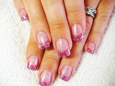 Short Nail Art Designs | very delicate pink glittery nail art for short hand nails.