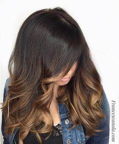 Peinado Castaño claro Cara que enmarca Balayage