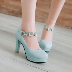 hochzeitsschuhe schleife New Women Pumps Hook Loop Ankle Strap Flower High Heel Woman rabbit hair Ladies Platform Party Wedding Shoes Kawaii Shoes, Frauen In High Heels, Studded Heels, Casual Heels, Casual Wear, Pretty Shoes, Fashion Heels, Ankle Strap Heels, Ankle Straps