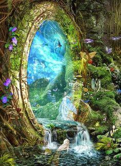 Image via We Heart It https://weheartit.com/entry/172971474/via/4893932 #agua #fantasy #naturaleza #portal #bosque
