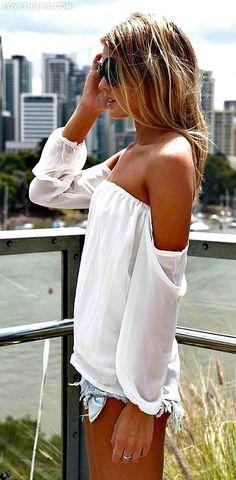 Summer Top sexy fashion summer white denim