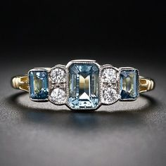 sofiazchoice:  Sofiaz Choice (via Antiques & Vintage) 18K Aquamarine and Diamond Ring - 30-1-5408 - Lang Antiques