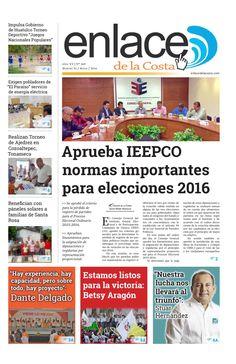 Edición 269; Enlace de la Costa  Edición número 269 del periódico Enlace de la Costa, editado y distribuido en la Costa de Oaxaca, con información de la región y sus municipios.
