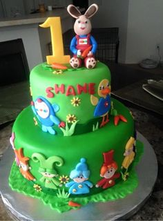 Harry The Bunny Birthday Cake Bunny Birthday Cake, Baby Boy 1st Birthday Party, First Birthday Cake Topper, Second Birthday Ideas, First Birthday Parties, Harry Birthday, Harry The Bunny, Baby First Tv, Foundant