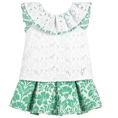 Foque Girls Green Floral & White Skort Set at Childrensalon.com
