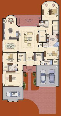 Floorplan - The Belize at Canyon Trails, Boynton Beach, Florida - Model Home Design Master suite layout