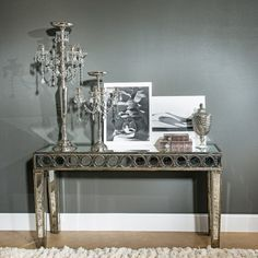 Antoinette Circle Pattern Mirrored Console Table
