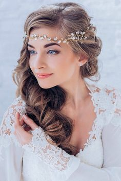 Crystal Decorated Wedding Bridal Hair Vine Bridal HeadBand Wedding Tiara Bridal Diadem Bridal Wreath / http://www.deerpearlflowers.com/wedding-hairstyle-with-bridal-headpieces/
