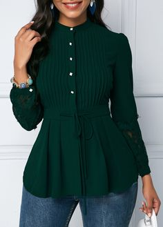 Lace Panel Dark Green Crinkle Chest Peplum Blouse Style :Cute Collar :Mock Neck Sleeve's Length :Long Sleeve Pattern Type :Patchwork Clothing's Length :Regular Color Scheme :Green Material Polyester, Spandex via Trendy Tops For Women, Blouses For Women, Fashion Models, Fashion Outfits, Fashion Clothes, Stylish Outfits, Womens Fashion, Fashion Trends, Peplum Blouse