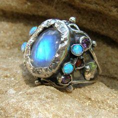 Engagement Ring, Rainbow Moonstone Engagement Queen Ring, Adjustable Ring, Silver Engagement Ring by yifatbareket on Etsy https://www.etsy.com/listing/162844098/engagement-ring-rainbow-moonstone
