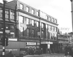 (Tray)  Date 	1971 Title	Black and white photograph showing the Fleece Hotel and Ascot Shoes Limited in Church Street, St.Helens.STSD/27/1