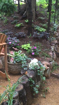 Waterfall shade landscape Landscaping A Slope, Yard Design, Yard Ideas, Waterfall, Shades, Landscape, Garden, Flowers, Plants