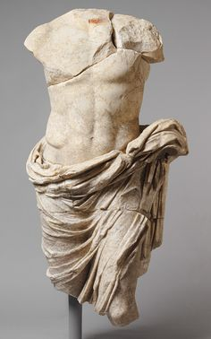 Statue of a member of the imperial family shown in heroic semi-nudity, Early Imperial, Augustan or Julio-Claudian, 27 B.C.–68 A.D.  Roman  Marble, pigment, gilding