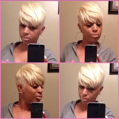 Hair by Latise Dope Hairstyles, My Hairstyle, Short Black Hairstyles, Weave Hairstyles, Short Sassy Hair, Short Hair Cuts, Short Hair Styles, Pixie Cuts, Pixie Styles
