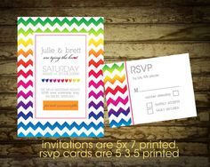 Modern Rainbow Wedding Invitation with Chevron by NotedOccasions, $22.00