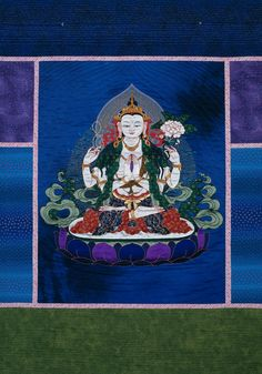 Chenrezig (known as Avalokiteshvara in Sanskrit) represents the full awakening of the compassionate heart -- our own and that of all the buddhas'. Incarnated as the Dalai Lama, he is also the patron deity of Tibet. This quilted thangka is a blend of traditional and contemporary stitchery. Leslie Rinchen-Wongmo stitched the figure of Chenrezig by hand, using traditional Tibetan appliqué methods, silk satin and brocade. She then set the figure in a machine-quilted cotton ground of blues…