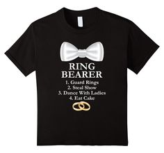 Kids Ring Bearer Boys Wedding Bridal Party T-Shirt 6 Black